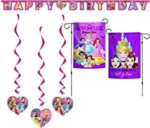 Princess Party Decorations for Inside and Outside- Birthday Banner, Hanging Swirls and Garden Flag
