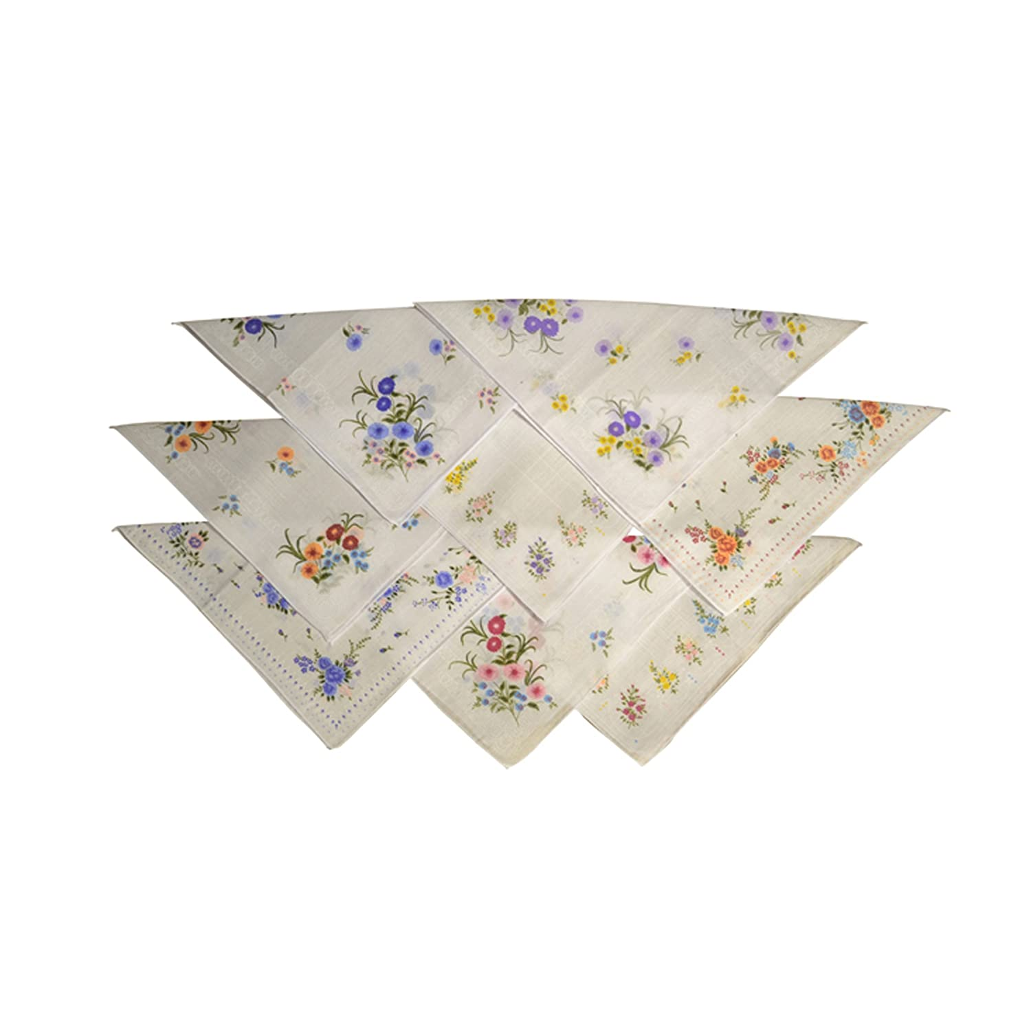 Pack of 8 Womens Handkerchiefs Printed Polyester Cotton