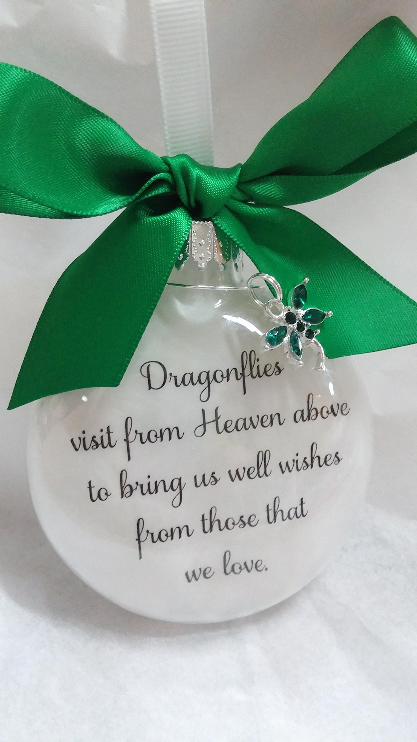 Dragonfly Memorial Christmas Ornament w/ Green Crystal - Dragonflies visit from Heaven