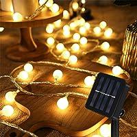 Guirnalda Luces Exterior Solar, 60 LED 8M Cadena Solar de Luces, IP65 Impermeable Cadena de Luces Decoracion, 8 Modos…