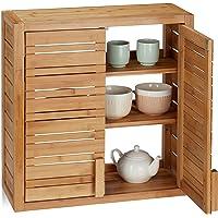 Relaxdays Armario de baño, Dos Puertas, Estantes Ajustables, Cuadrado, Bambú,…