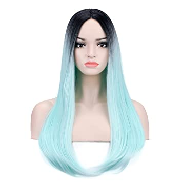 YOPO Ombre Mint Green Wigs Straight 26   Long Middle Part Wig Dark Root  Light e671259b03