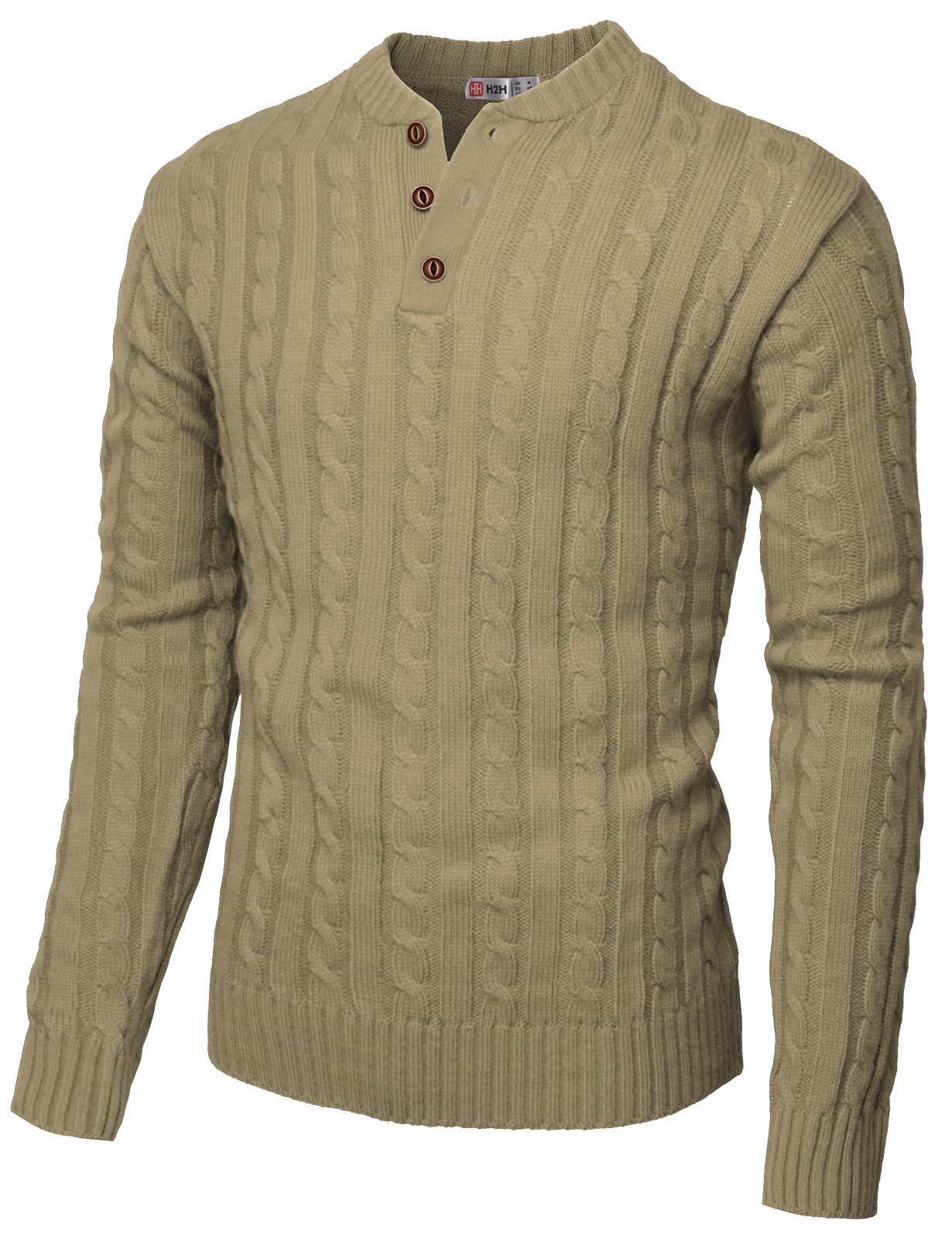 H2H Mens Slim Fit Henley Neck Knitted Pullover Sweater Beige US 2XL/Asia 3XL (CMOSWL029)