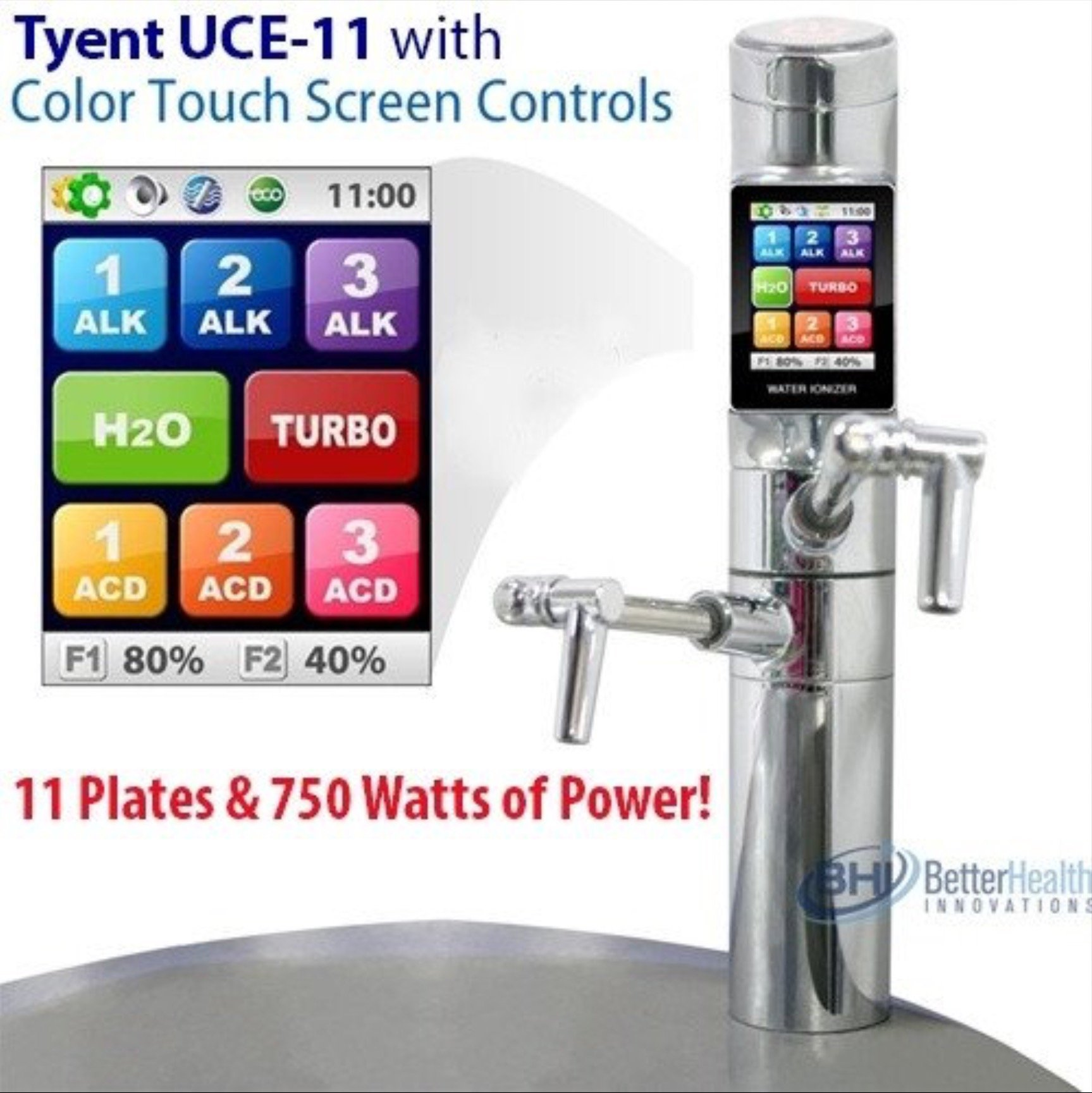 Tyent UCE-11 Under Counter Water Ionizer - Next Generation - Healthy Anti-Oxidant Ionized Water - pH Range from 2pH - 12pH* - 11 Plates - 750 Watts of Power - Alkaline Water Generator - Turbo Mode - Top of the Line - Designed for High End Kitchens