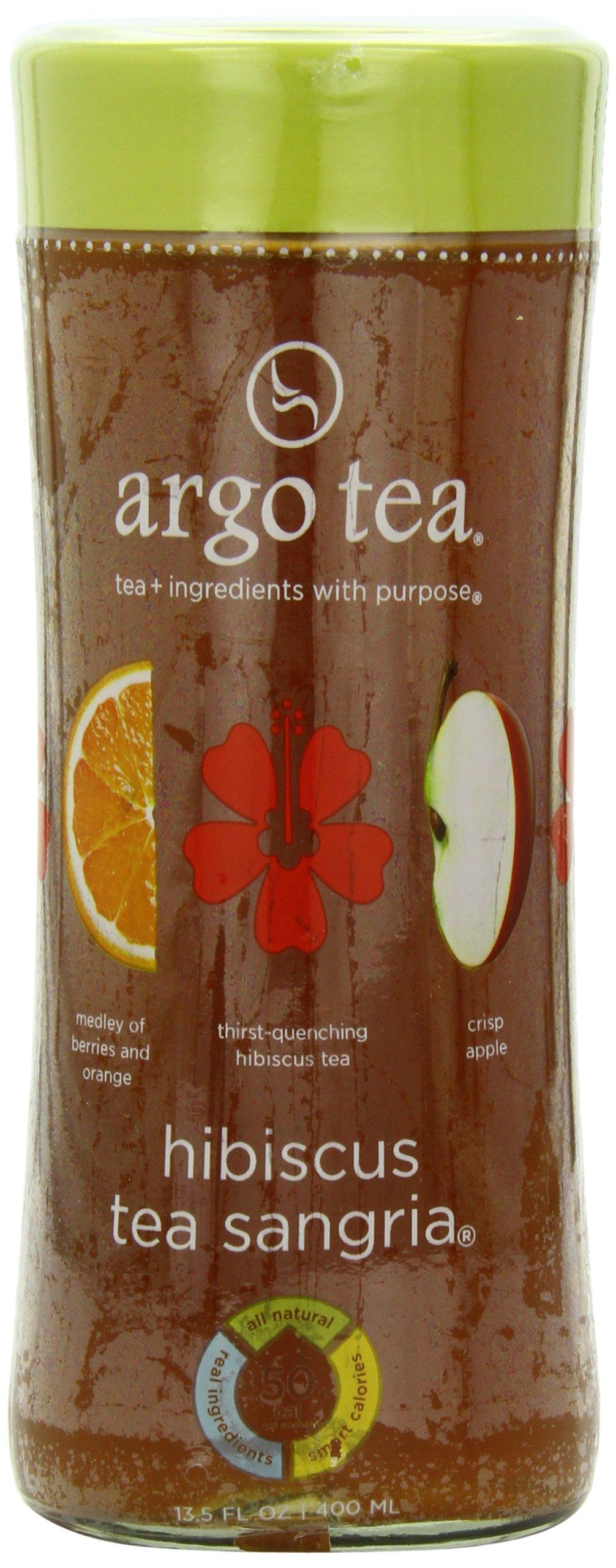 (Glass) Argo Tea Iced Tea, Hibiscus Sangria, 13.5 Ounce (Pack of 12)