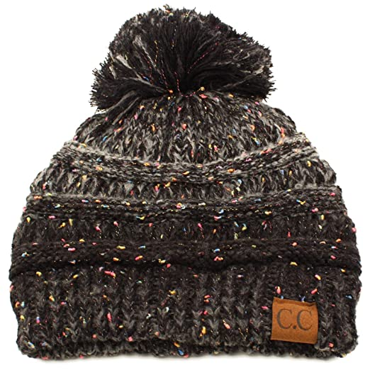 a74204a7169 Confetti Ombre Big Pom Pom Warm Chunky Soft Stretch Knit Beanie Hat Black