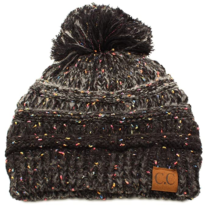09e6fac9547bd7 Confetti Ombre Big Pom Pom Warm Chunky Soft Stretch Knit Beanie Hat Black