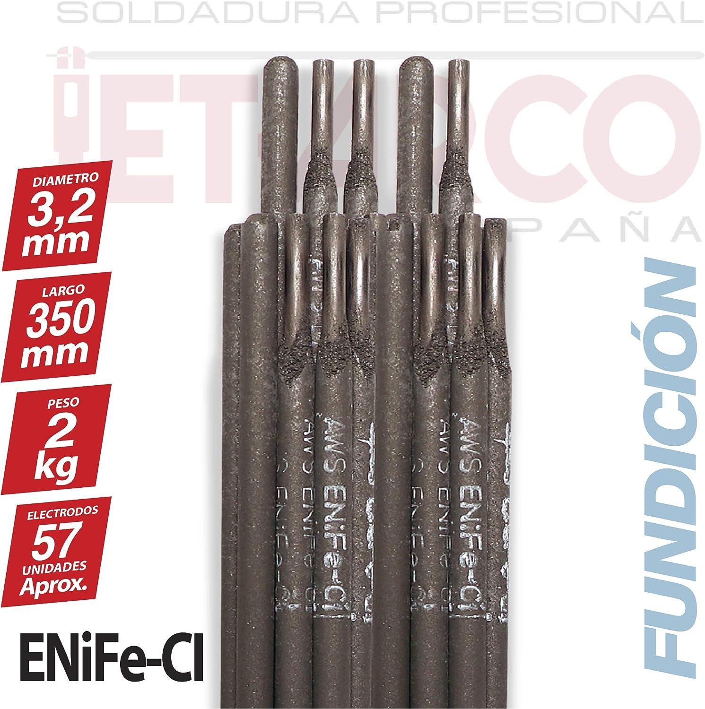 JET-ARCO Espa/ña MMA Ref.: J127EL /Ø 3,2mm x 350mm. Paquete 2 Kg AWS A5.15 ENiFe-Ci Electrodo base Niquel para soldadura de Acero Fundido