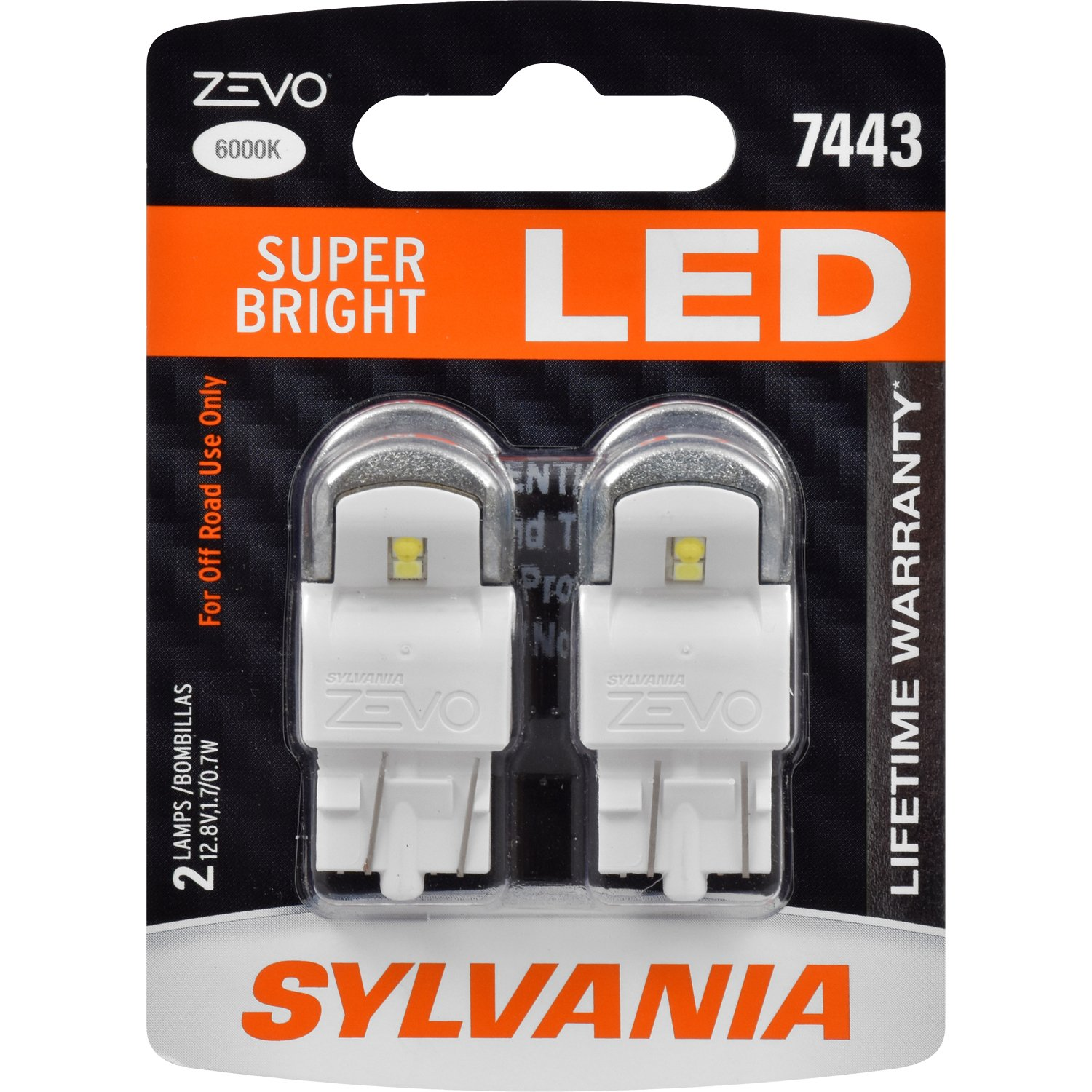 7443 T20 ZEVO LED Amber Bulb Contains 2 Bulbs Ideal for Park and Turn Signals SYLVANIA Bright LED Bulb