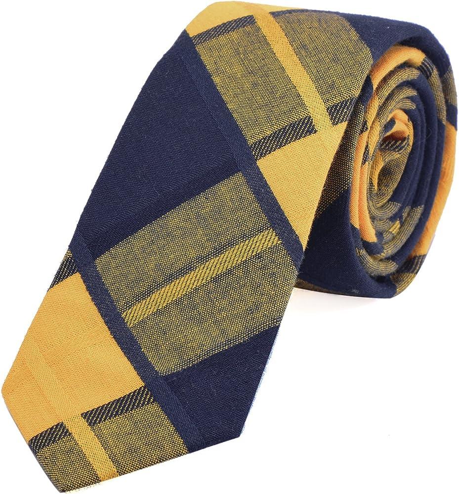 DonDon Corbata de cuadros de algodón para hombres de 6 cm ...