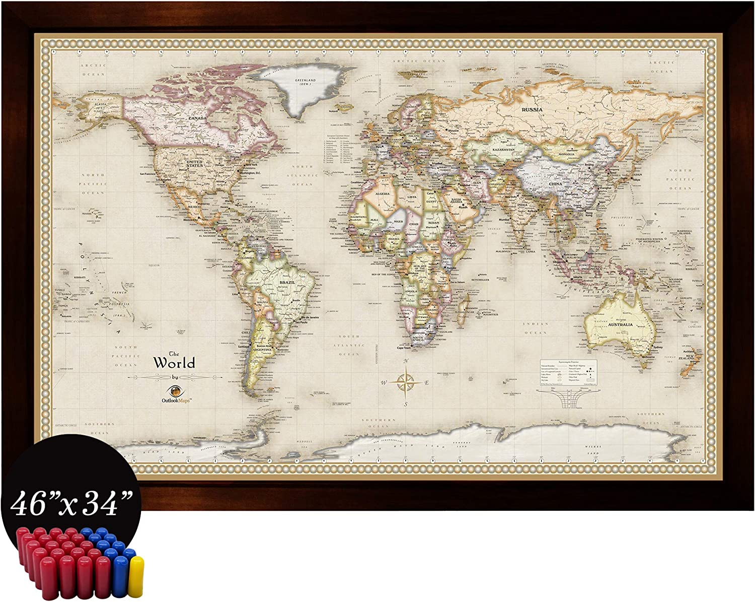 Home Magnetics Interactive World Map Art | Framed Magnetic Geographic Map | 30 Marker Pins Included (46x34)