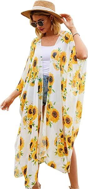 Women's Printed Kimono Cardigan Summer Top Blouse