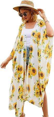 Hibluco Women's Long Floral Kimono Printed Cardigan Sheer Swimsuit Cover Ups