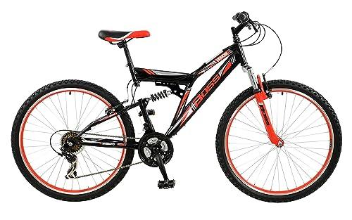 BOSS Men's Venom Mountain Bike, Black and Red, 26