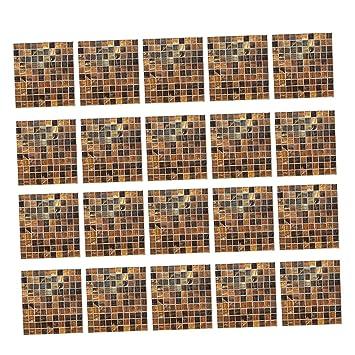 Homyl 20er Set Fliesenaufkleber Fliesenbild Fliesen Aufkleber Sticker  Badezimmer Bad Folie   Braun