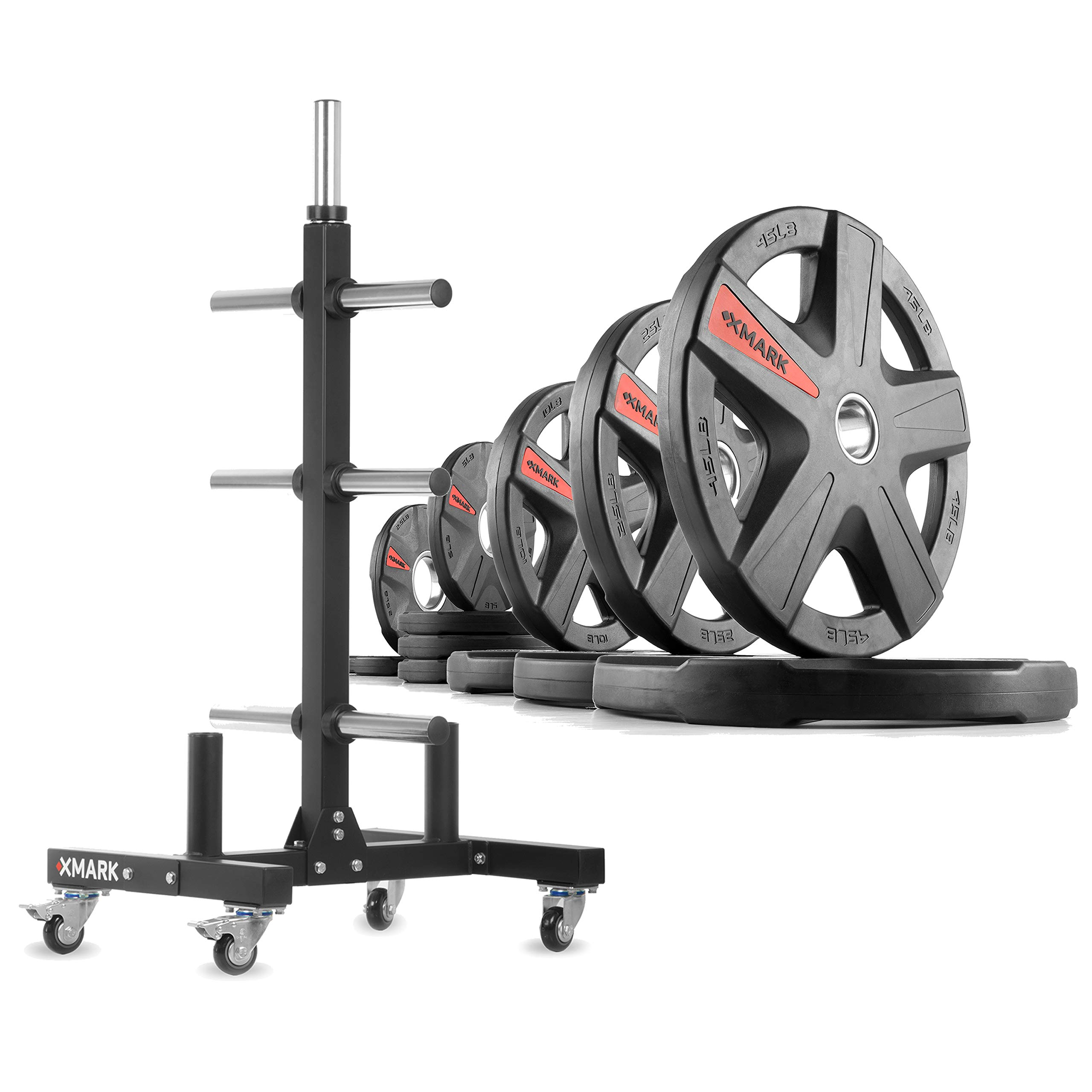 XMark XM-9055 Commerical Olympic Weight Tree Plus a 185 lb Set of Texas Star Olympic Plates by XMark