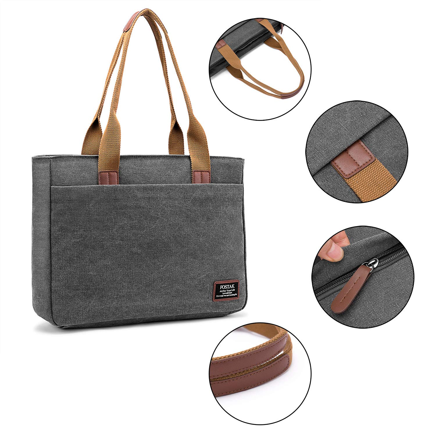 f0488839e DTBG Laptop Tote Bag, 15.6 Inch Women Shoulder Bag Canvas Briefcase Casual  Handbag Laptop Case for 15-15.6 Inch  Tablet/Ultra-Book/MacBook/Chromebook(Dark ...