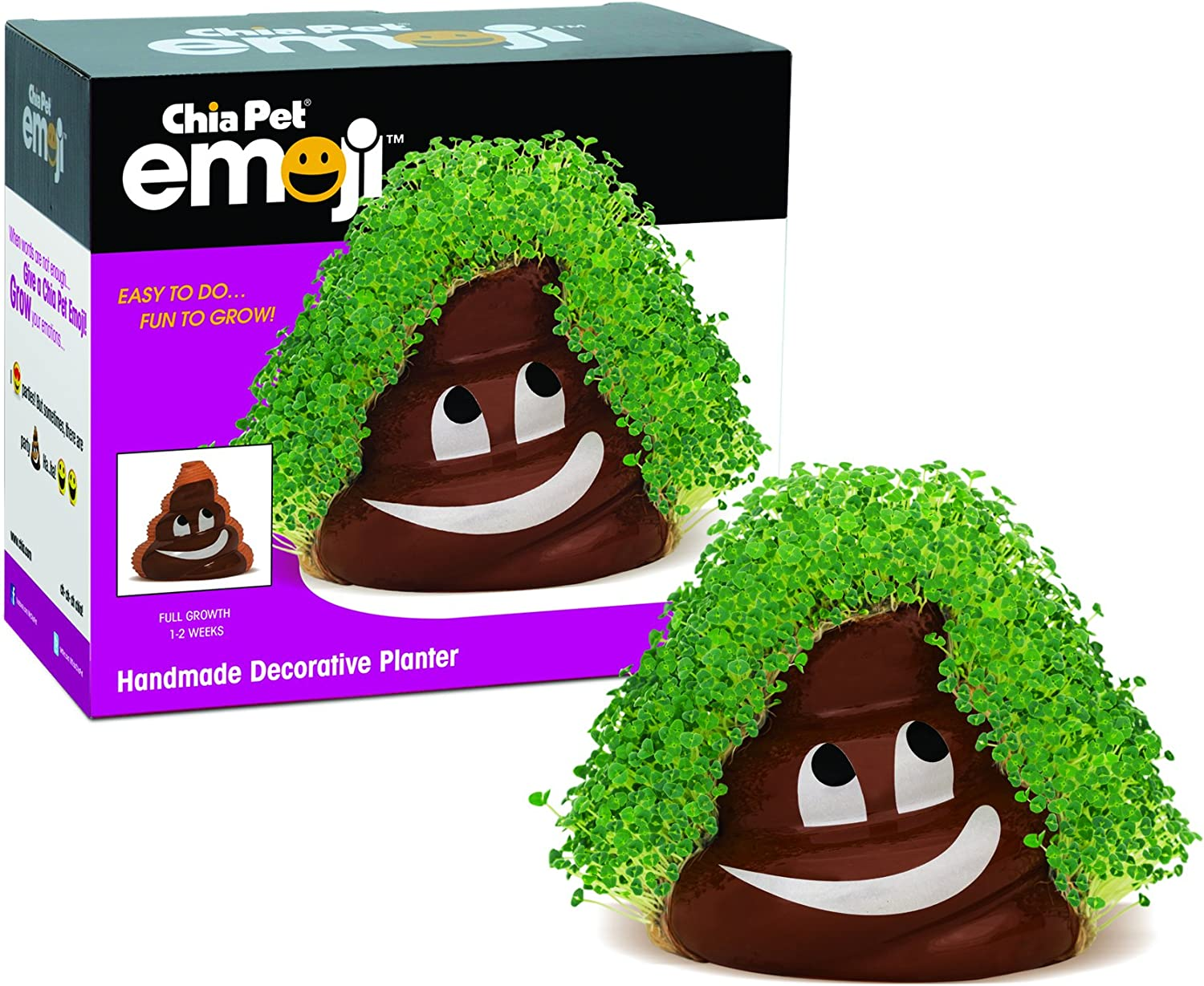 Chia Pet Emoji Poopy with Seed Pack, Decorative Pottery Planter, Easy to Do and Fun to Grow, Novelty Gift, Perfect for Any Occasion