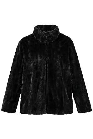5685f6158e Ulla Popken Women's Plus Size Elegant Faux Fur Jacket Black 12/14 719666 10