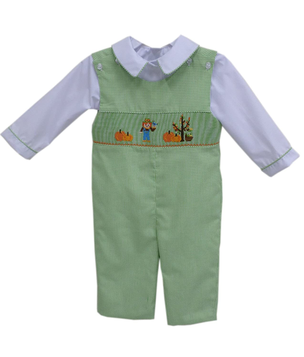 Carouselwear Boys Thanksgiving Longall Overalls Smocked Scarecrow and Pumpkins