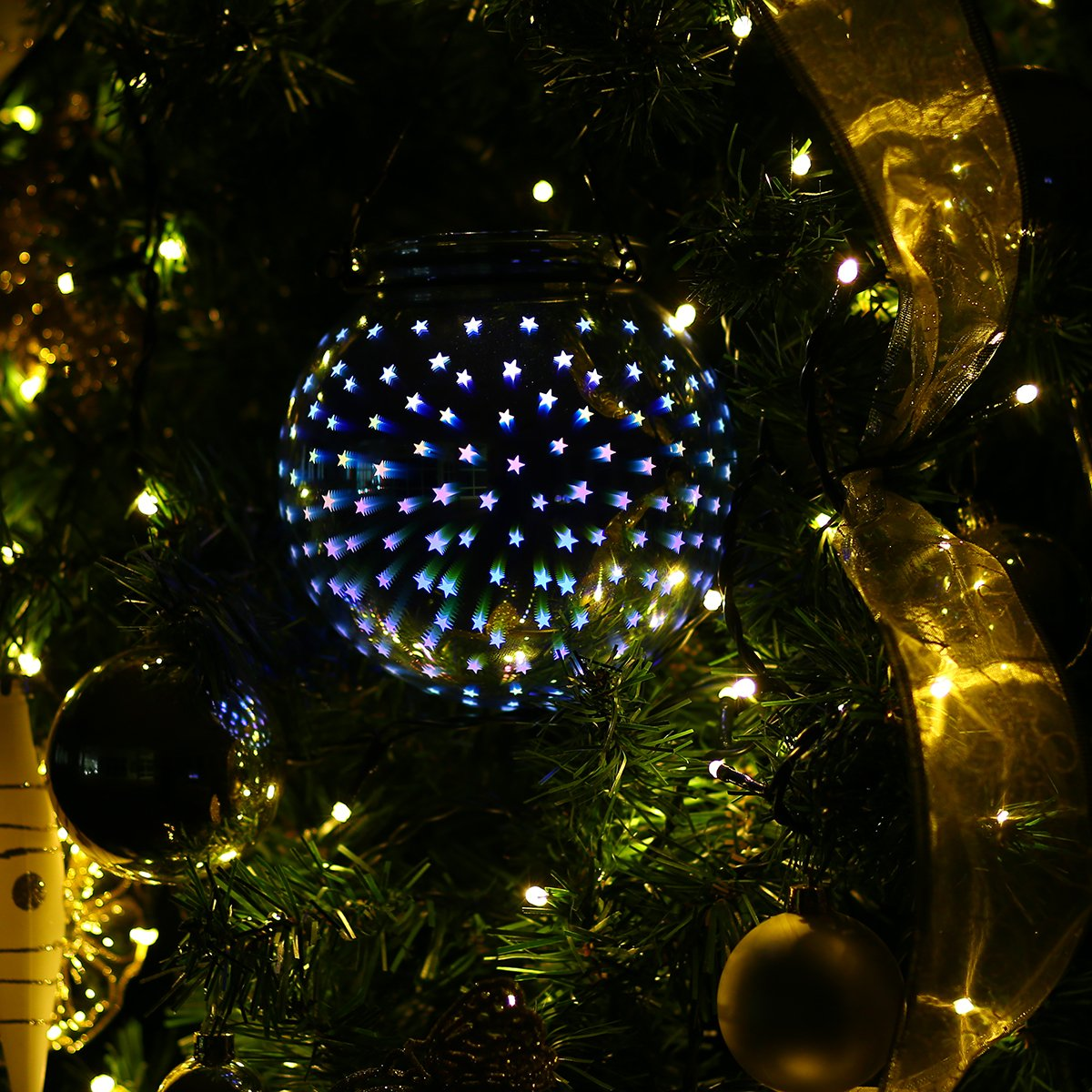 amazoncom valery madelyn winter wishes silver white christmas glass ball ornaments with 3d stars led sphere light for hanging and table centerpiece - Sphere Christmas Lights