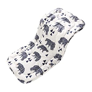Baby Seat Liner for Stroller,Super Light Baby Seat Pad,Breathable Soft Cushion Double Sides Use 31''x 13''(Bear)