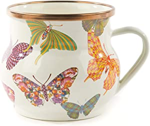 MacKenzie-Childs Butterfly Garden Teacup, Enamel Coffee Mug, White