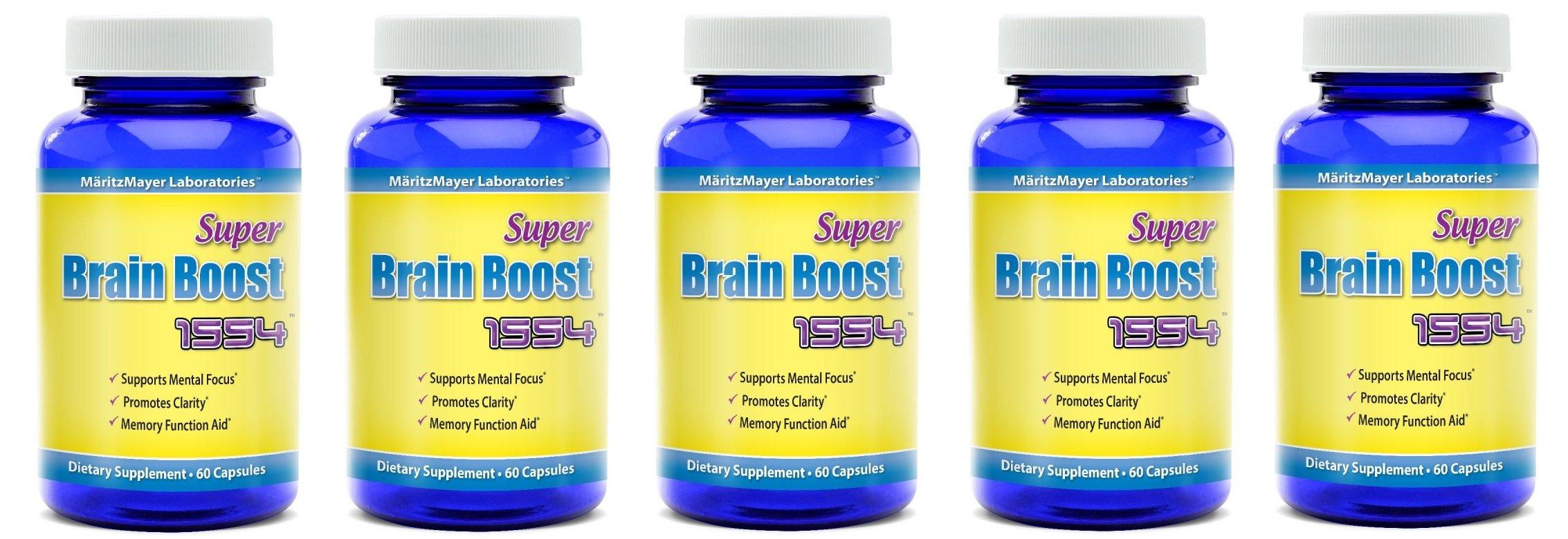 Super Brain Boost Nootropic 1554 Improve Focus Calrity Memory Concentration Contains Ginkgo Biloba St. John's Wort Bacopa Monniera DMAE 60 Capsules 5 Bottles