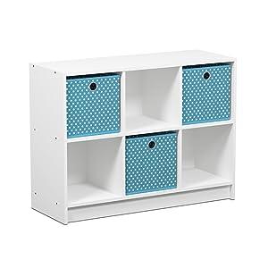 FURINNO Basic Bookcase Storage Shelves, White/Light Blue