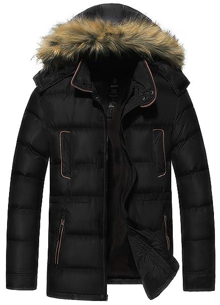 Amazon.com: Wantdo Puffer Coat - Cortavientos para hombre ...