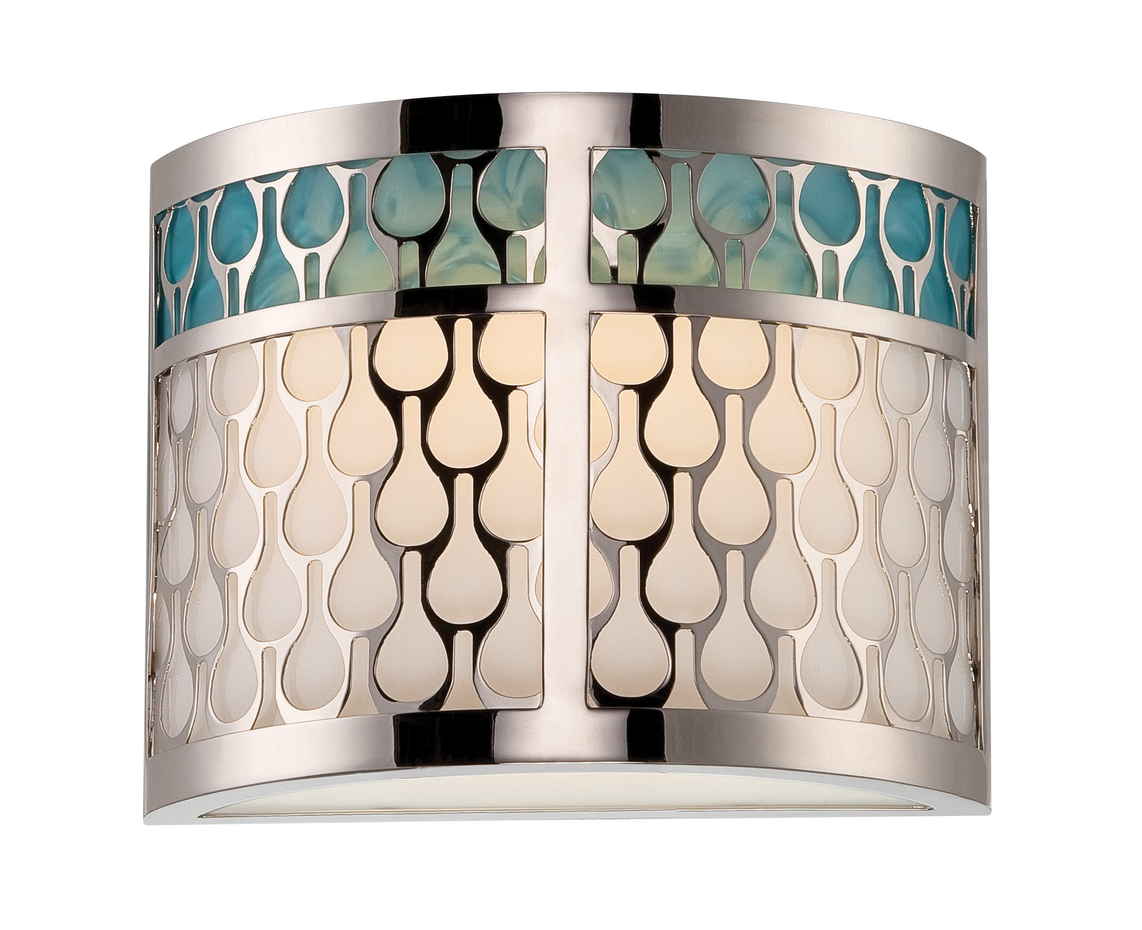Nuvo Lighting 62/143 Raindrop LED One Light Wall Sconce 4.8 Watt 285 Lumens Soft White 2700K KolourOne Technology Polished Nickel Fixture