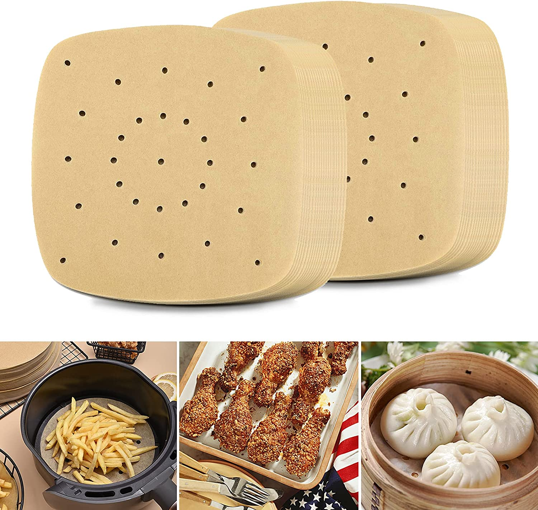 200 PCS Air Fryer Parchment Paper Premium Perforated Parchment Papers for Air Fryer Steaming Basket Baking Ovening and More (Square)