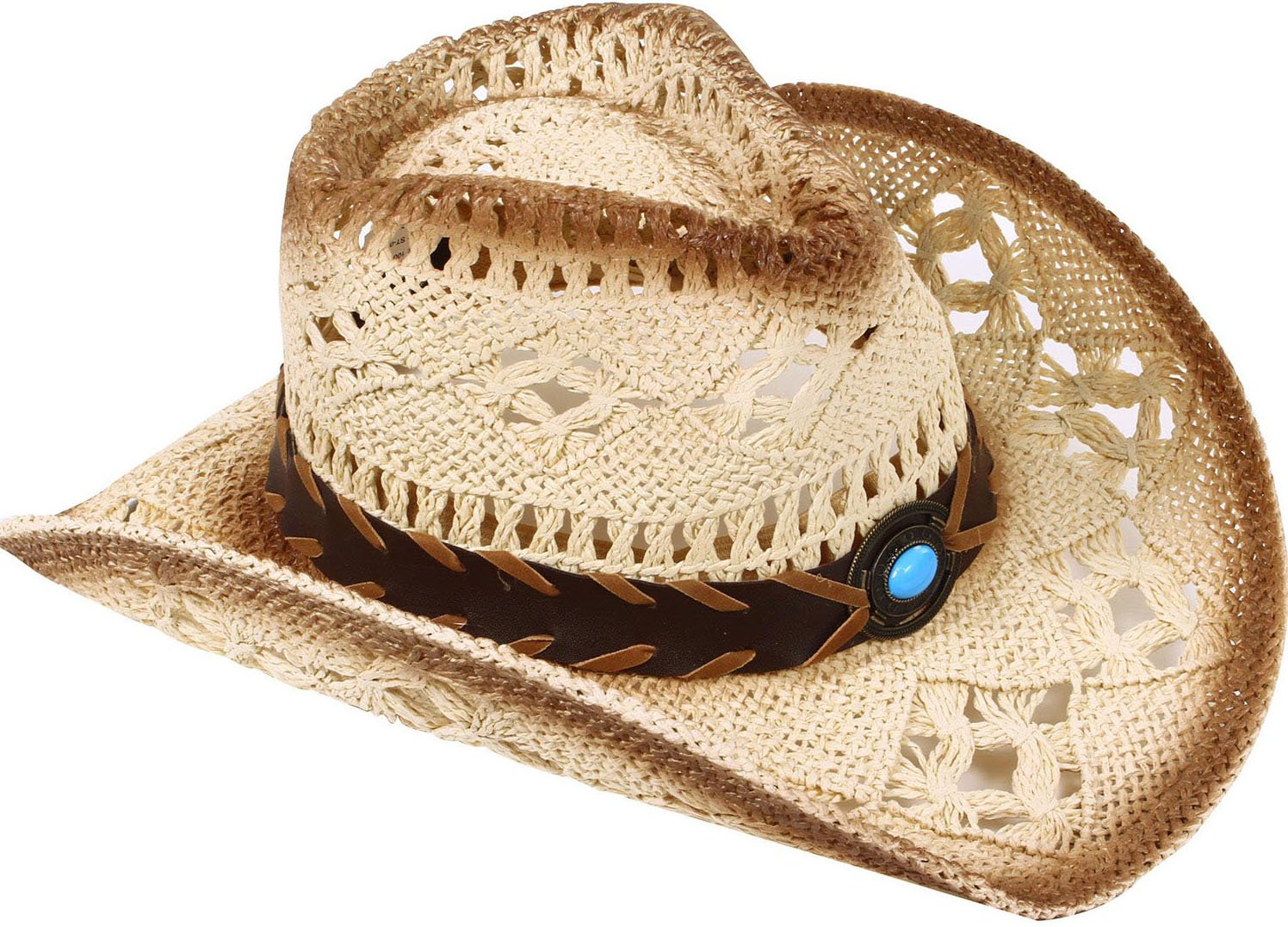 Livingston Men & Women's Woven Straw Cowboy Hat w/Hat Band Décor, Bead Beige