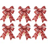 iPEGTOP 6 Pcs Christmas Bows Holiday Ribbons, Shiny Glitter Red Snowflakes Plastic Fabric Bows for Festive Ornaments Christmas Trees, Wreaths and Gifts Indoor/Outdoor Decoration