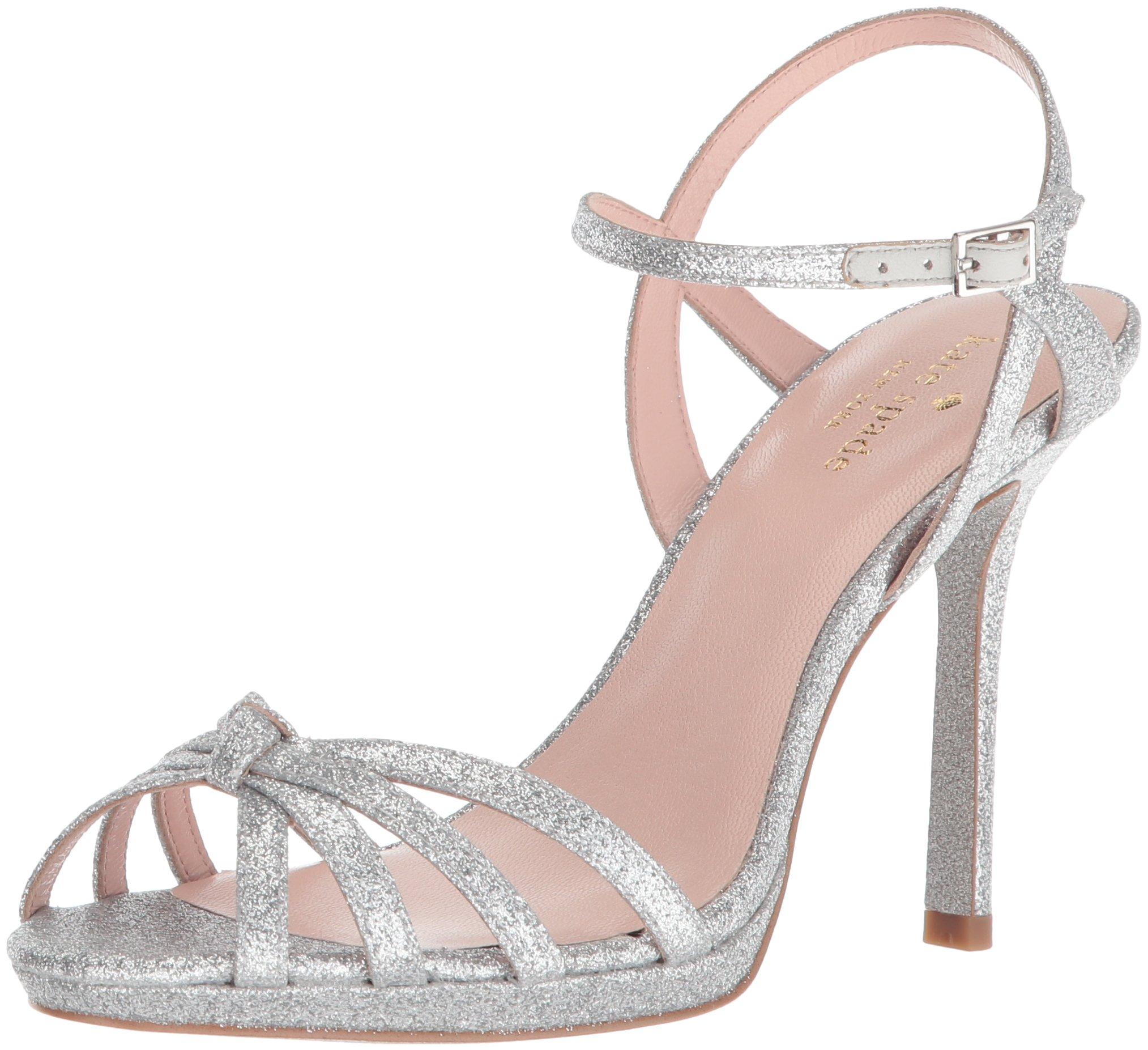 Kate Spade New York Women's Florence Heeled Sandal, Silver Thin Glitter, 7 Medium US