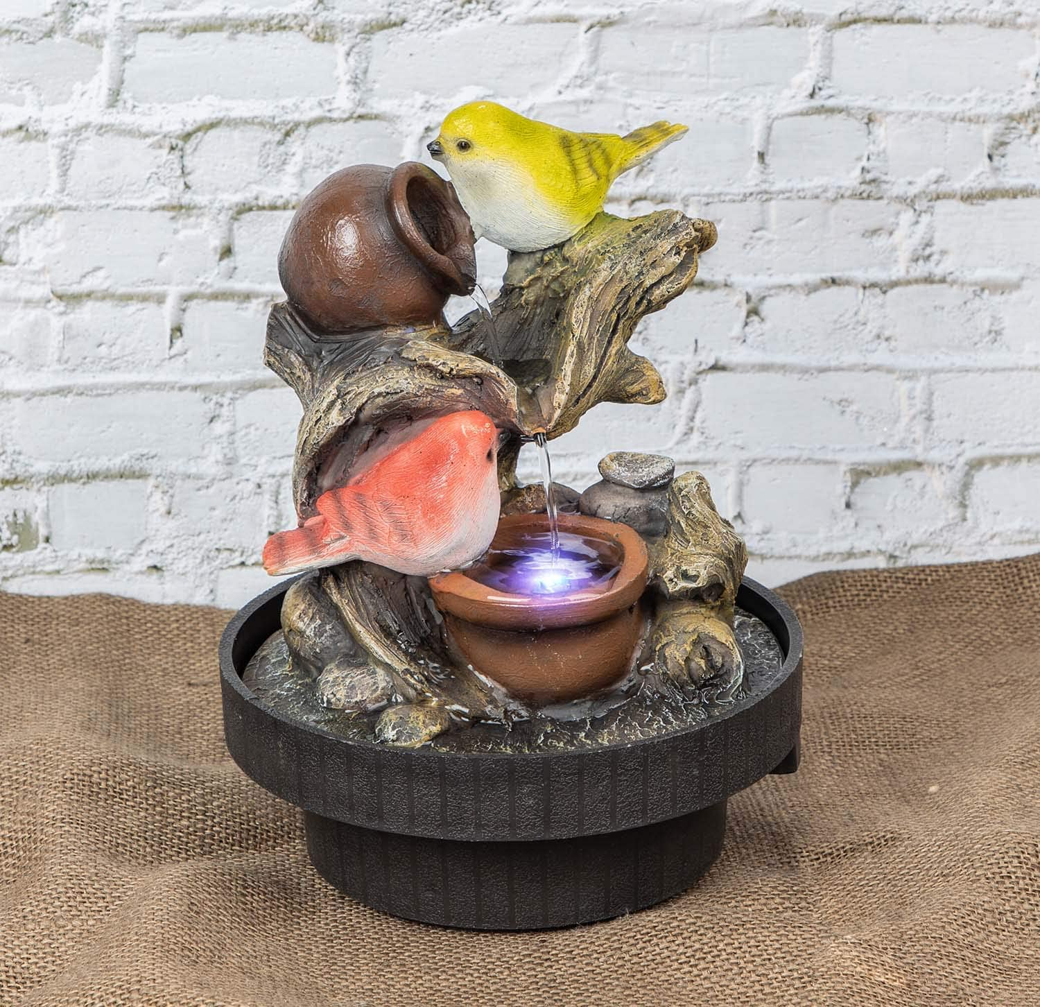 Ferrisland Tabletop Fountain Birds Waterfall Desktop Electric Water Fountain Decor w/LED - Indoor Outdoor Portable Tabletop Decorative Zen Meditation Waterfall Kit Includes Submersible Pump: Home Improvement