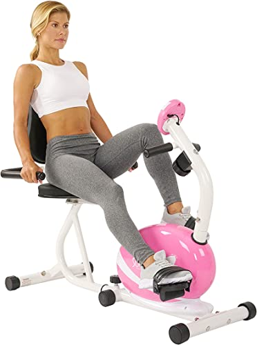 Sunny Health Fitness Magnetic Recumbent Bike Exercise Bike, 220lb Capacity, Monitor, Pulse Rate Monitoring – P8400
