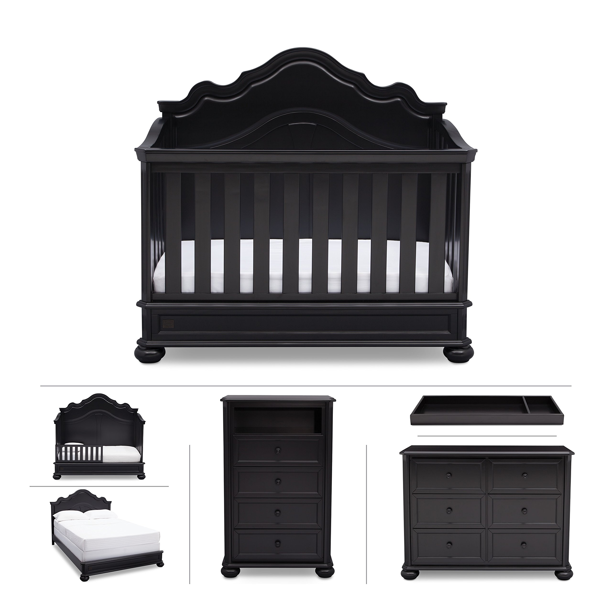 Nursery Furniture Set with Convertible Crib, Dresser, Chest, Changing Top, Toddler and Full Size Conversions – 6 piece Simmons Peyton Collection, Black