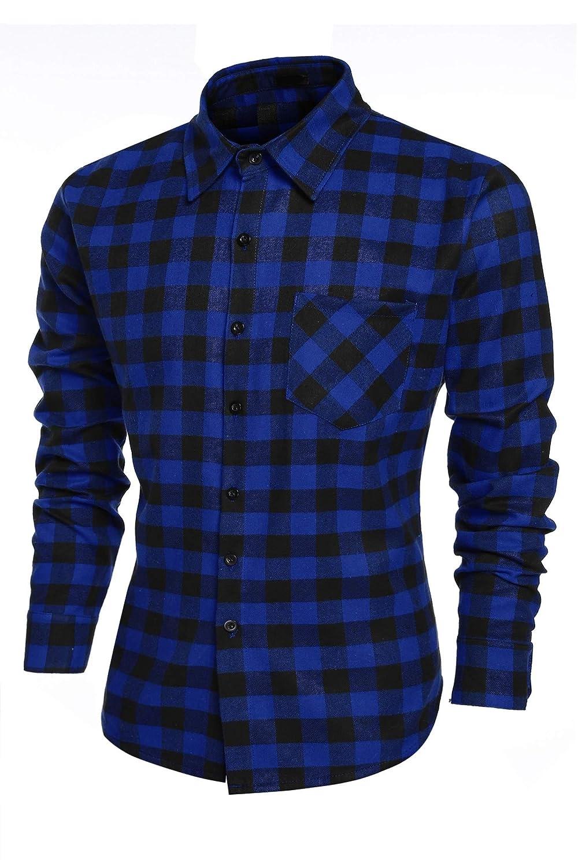 Mens Plaid Shirts Fashion Casual Cotton Turn Down Collar Button