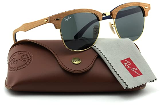 b6f86f41a6243 Ray-Ban RB3016M Clubmaster Wood Unisex Sunglasses (Brown Wood Frame Blue  Grey Lens
