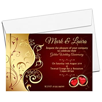 10 Personalised Golden 50th 40th Ruby Wedding Anniversary Invitations Invites N6