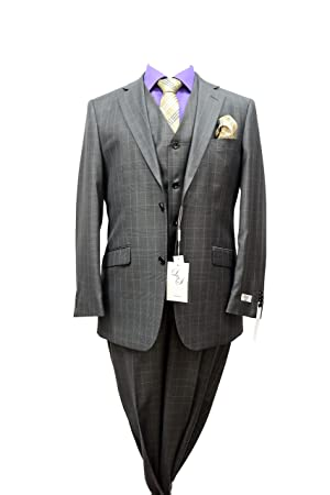Men's L&S Modern Fit Charcoal Plaid Check Design 3 Piece Wool Blend Suit (40L-34W)