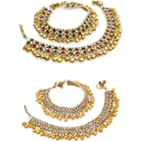 The Luxor Gold Brass Combo of Anklets For Women