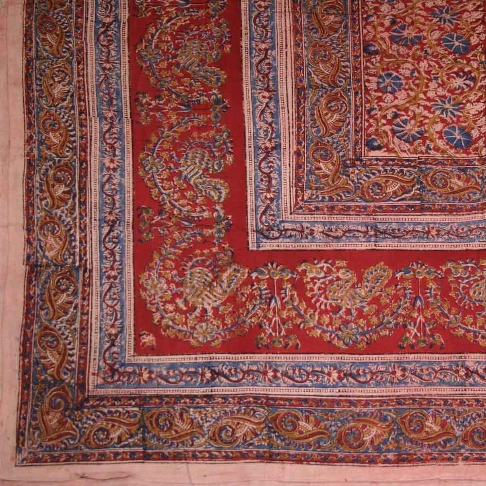 Handmade Cotton Floral Vegetable Dye Hand Block Print Tapestry Tablecloth Throw Beach Sheet Throw Blanket Dorm Decor Red Full
