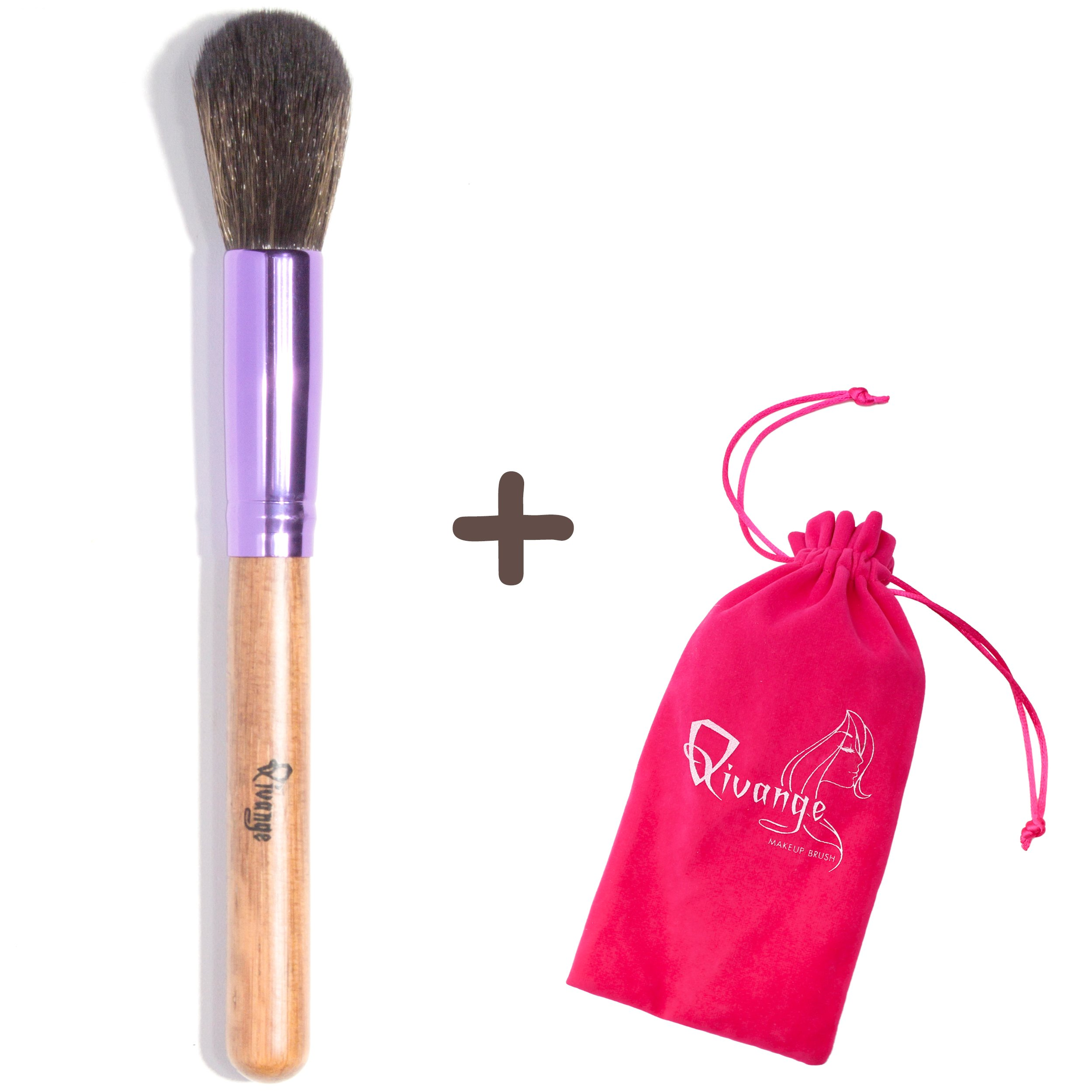 Qivange Powder Brush, Soft Wooden Handle Makeup Brush with Pouch(Wooden with Purple, 1 pc)