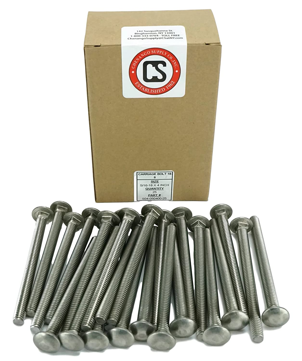 18-8 Stainless Steel,25 Pieces 5//16-18x3 Stainless 5//16-18 x 3 Carriage Bolt 1 to 5 Lengths Available in Listing