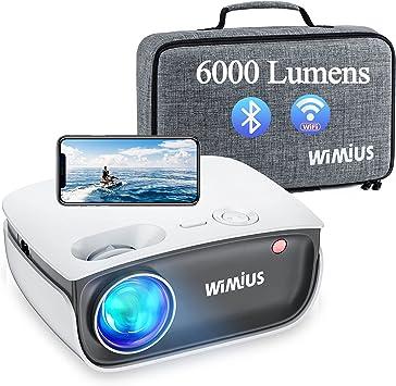 Proyector WiFi Bluetooth, WiMiUS 6000 Lúmenes Proyector WiFi Bluetooth Soporta 1080P Full HD, Mini Proyector Cine en Casa 80,000 Horas Proyector Portátil para iPhone/Android/TV Stick HDMI AV USB