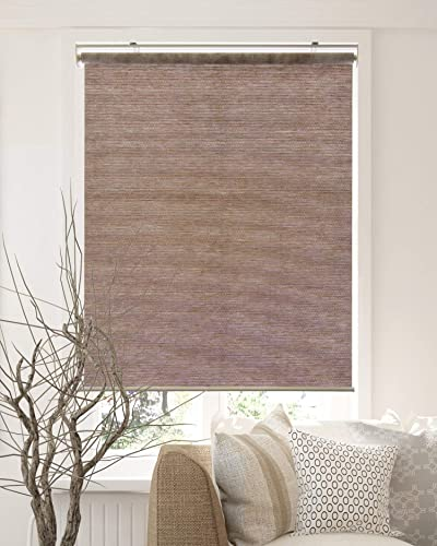 CHICOLOGY Cordless Roller Shades Snap-N -Glide, Privacy Natural Perfect for Living Room Bedroom Nursery Office and More, 48 W X 72 H, Felton Truffle Natural Woven