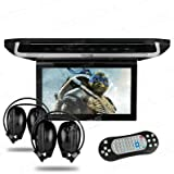 """XTRONS® 10"""" HD Digital TFT Monitor Car Roof Flip Down Overhead DVD Player Touch Panel Game Disc with HDMI Port IR Headphones"""