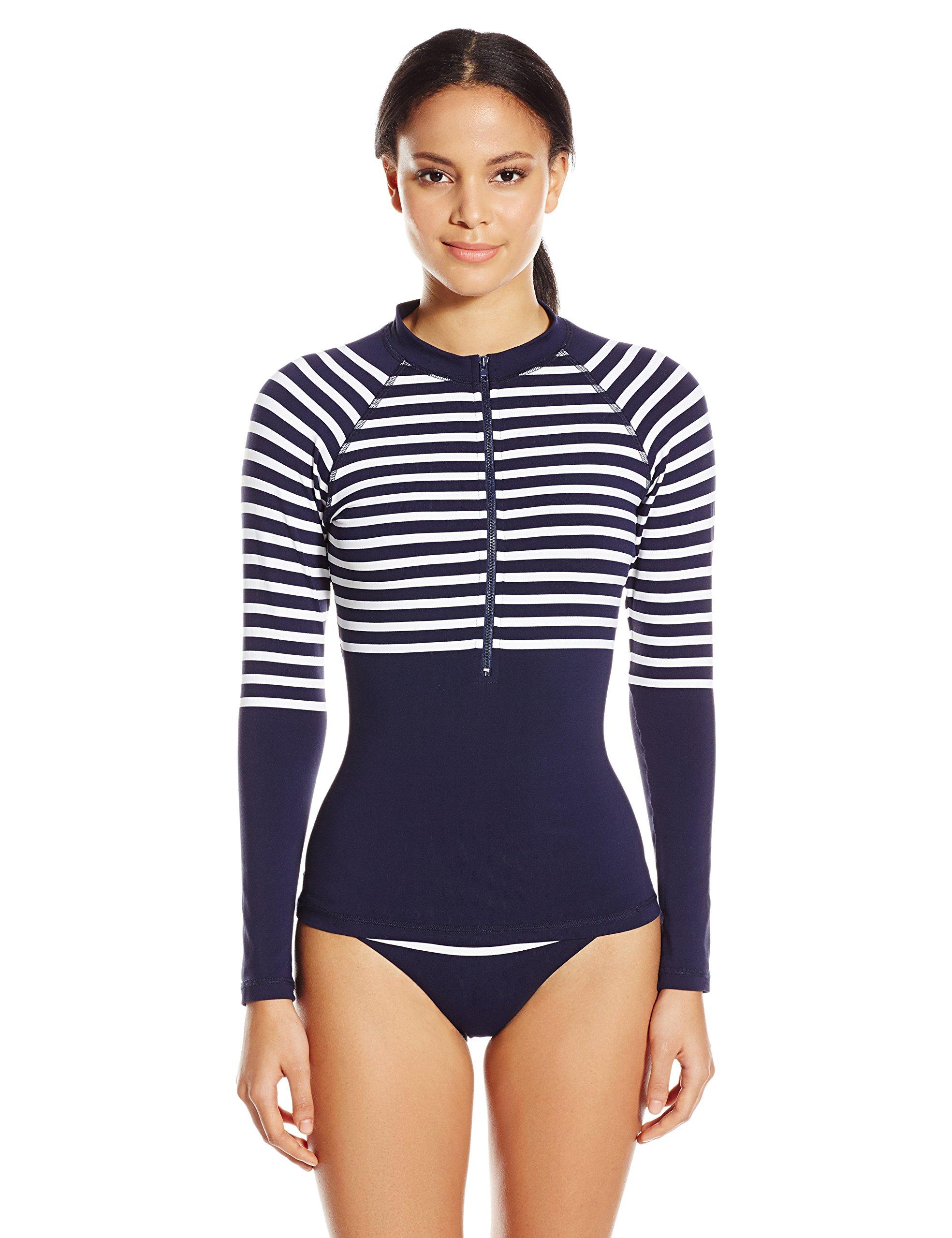 Shoshanna Women's Striped Jersey Zip Front Rash Guard, Navy/White, X-Small